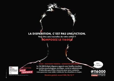 """Campagne du 116 000 Enfants Disparus: """"La Disparition, c'est pas une fiction"""""""